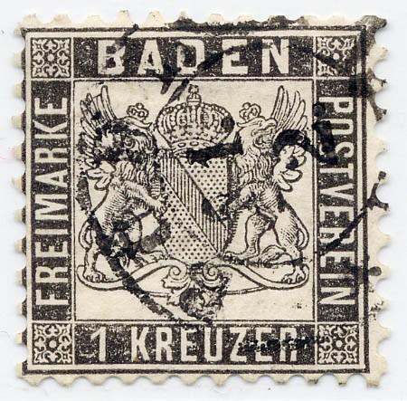 Baden MiNr. 17a o 1 Kreuzer / schwarz / Wappen-gez.