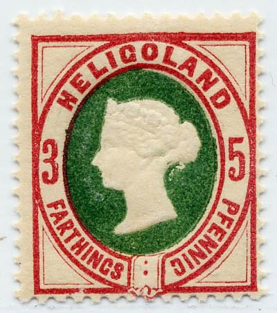 Helgoland MiNr. 13a ** 3Pf/5F dkl.lilakarmin/grün