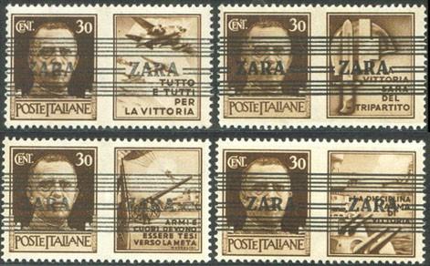 Dt. Besetzung Zara MiNr. 36 I-IV ** FM Italien m.Propagandaaufdr.+Nebenfeld (4 W.)