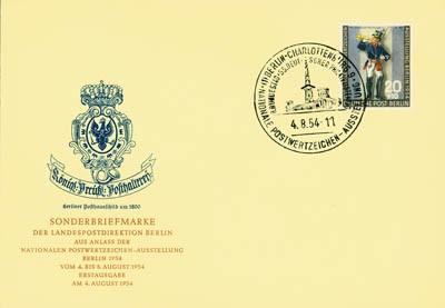 Berlin FDC Mi-Nr. 120 Nationale Briefmarkenausstellung 1954