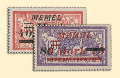 Memelgebiet MiNr. 119/120 ** Freimarken Frankreich mit Aufdruck