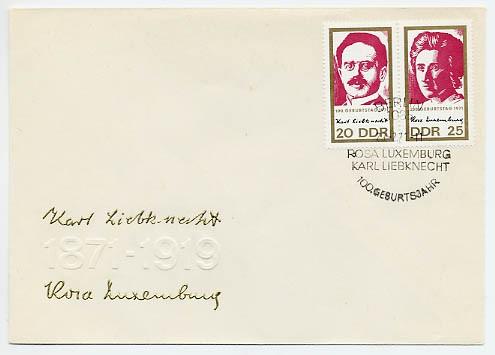 DDR FDC MiNr. 1650/51 Zdr. 100. Geb. Luxemburg-Liebknecht