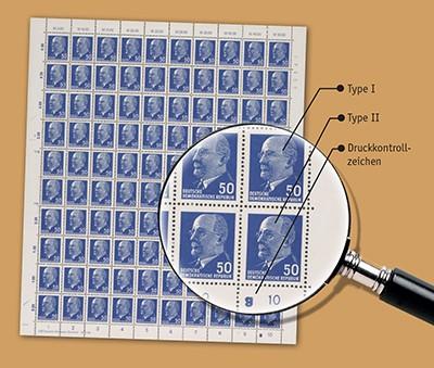 DDR Bogen MiNr. 937 b Xy I/II ** 50 Pfg Walter Ulbricht mit Druckerzeichen