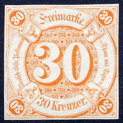 Thurn & Taxis MiNr. 25 ** 30 Kr., orange, geschnitten