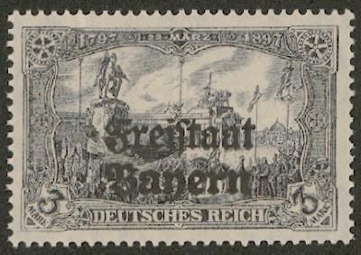"""Bayern MiNr. 150A ** Zähnung 26:17 3 Mark """"Kaiser-Wilhelm-Denkmal"""" mit Aufdruck"""