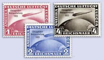 Dt. Reich MiNr. 496/98 ** mit Attest Zeppelin-Chicagofahrt 1933