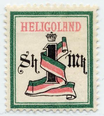 Helgoland MiNr. 19Aa * 1M/ 1Sh blaugrün/grauschw./karmin