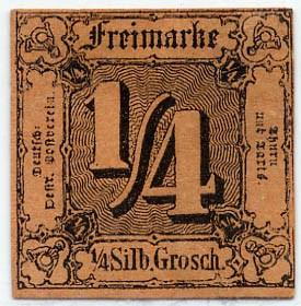 Thurn & Taxis MiNr. 1 (*) 1/4 Gr., schw. auf dunkelorange, geschnitten