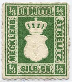 Mecklenb.-Strelitz MiNr. 2b * 1/3 Silbergroschen / dunkelgraugrün