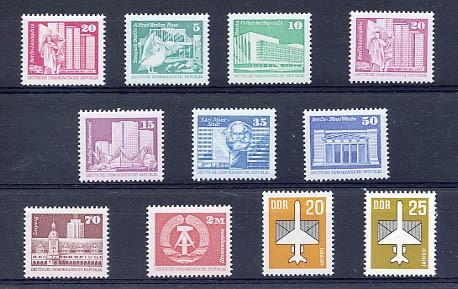 DDR Freimarken Nachdrucke ** w und v-Papier 11 Werte komplett