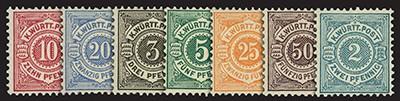 Württemberg MiNr. 46-47, 55-57, 59, 60 ** Raritäten-Set: Ziffern im Kreis