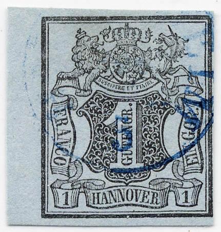 Hannover MiNr. 1 o 1 Gutegroschen / blaugrau