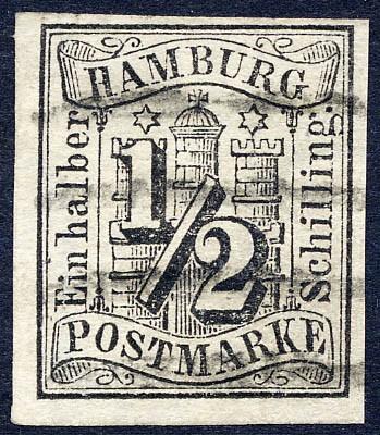 Hamburg MiNr. 1 o 1/2 Schilling / schwarz