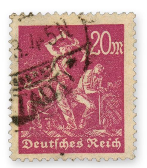 """Dt. Reich MiNr. 241 Y o gepr. FM: """"Arbeiter"""" 20 M Wasserzeichen liegend"""