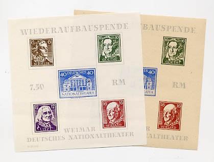 SBZ Thür. Bl. 3 A/B ** Blockpaar Nationaltheater Weimar