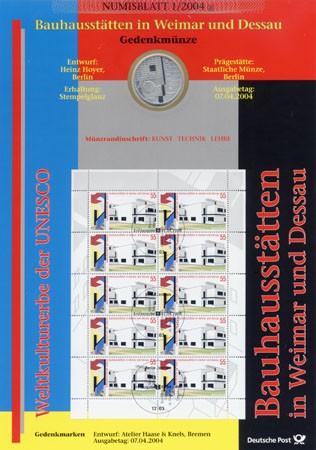 BRD Numisblatt 1/2004 Bauhaus Dessau