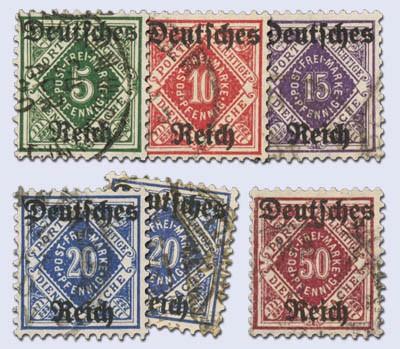 Dt. Reich Dienst MiNr. 52/56 inkl. 55X + Y o gepr. Neu gedruckte Dienstmarken Ziffern in Raute