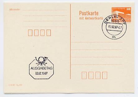 DDR Ganzsache P 88 o 10/10Pf. Bauwerke m.Postleitzahlf. Wz.orange