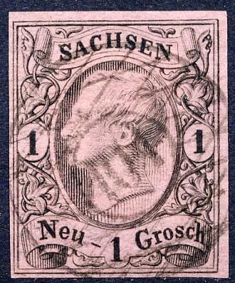 Sachsen MiNr. 9II a o 1 Ngr. / König Johann I. / hellgraurot
