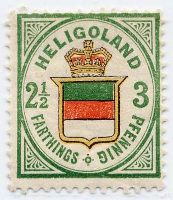 Helgoland MiNr. 17b * 3Pf/2 1/2 F grün/dkl.orange/zinnoberrot