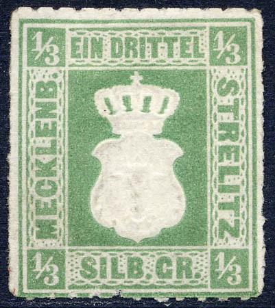 Mecklenb.-Strelitz MiNr. 2a (*) 1/3 Silbergroschen olivgrün