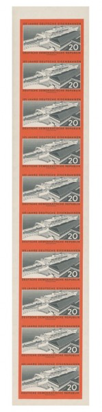 DDR MiNr. 805B ** 10er-Streifen geschn. 125 Jahre Deutsche Eisenbahn