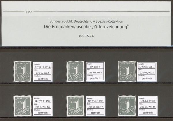 """BRD Kollektion Freimarke """"Ziffernzeichnung"""" ** Spezial-Kollektion mit MiNr. 226 und 285"""