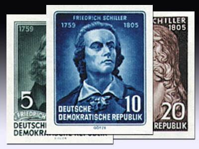DDR Marken aus Bl. 12 MiNr. 464/66B ** geschn. Schiller-Jahr 1955