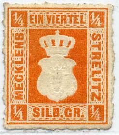 Mecklenb.-Strelitz MiNr. 1b * 1/4 Silbergroschen / gelborange