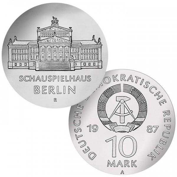 DDR Münze 1987, 10 M, st 750 Jahre Berlin Schauspielhaus