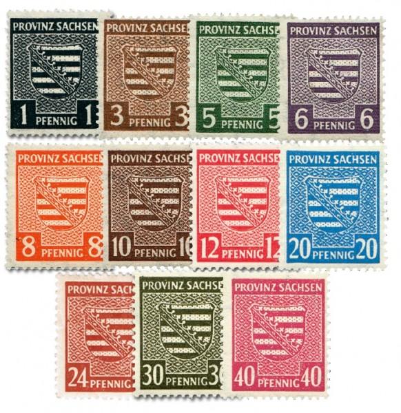 SBZ Prov.Sa. MiNr. 73/84X ** ohne MiNr. 80X Freimarken Provinzwappen (11 Werte)