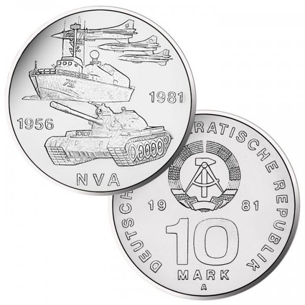 DDR Münze 1981, 10 M, vz 25 Jahre Nationale Volksarmee