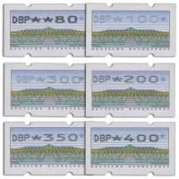 "BRD ATM MiNr. 2.2.1 VS2 ** 6 Werte ""DBP"" breit, Ziffern fett, (80 - 400 Pf)"