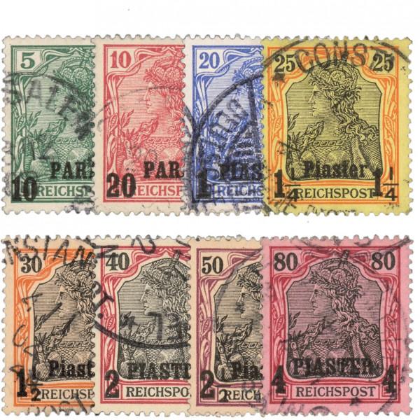 Dt. Post in d. Türkei MiNr. 12/19 KS o FM Reichspost mit Aufdruck (8 Werte)