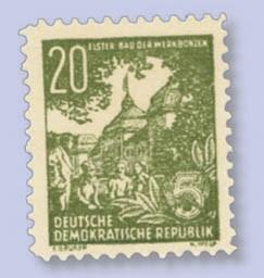 """DDR Propagandafälschung MiNr.10 ** 20 Pf., """"Elster Bad der Werkbonzen"""""""