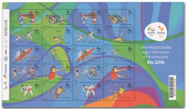 Brasilien Rio 2016, 1 Kleinbogen II ** Motive Boxen bis Handball (20 Werte)