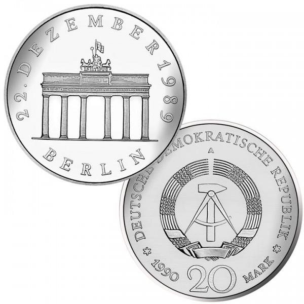 DDR Münze 1990, 20 M, Ag/PP Öffnung Brandenburger Tor