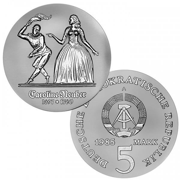 DDR Münze 1985, 5 M, st 225. Todestag Caroline Neuber