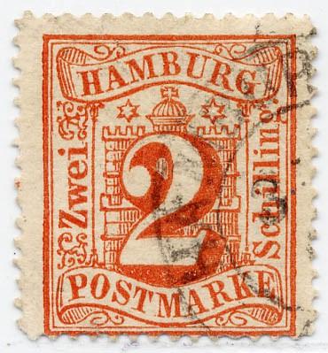Hamburg MiNr. 13 o 2 Schilling / rot / gezähnt