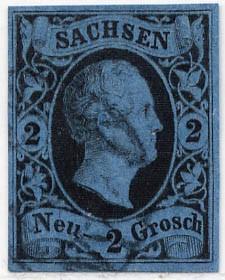 Sachsen MiNr. 7 o 2 Ngr./ Friedrich August II / kobaltblau