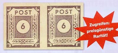 SBZ Ost-Sa. MiNr. 58 a U ** waagerechtes Paar Ziffer 6 Pf dunkelblauviolett, ungezähnt