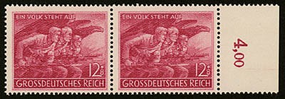 """Dt. Reich MiNr. 908 IV ** """"Der Volkssturm"""" - PF IV """"H"""" von """"REICH"""" gebrochen m. Vergleichsst"""