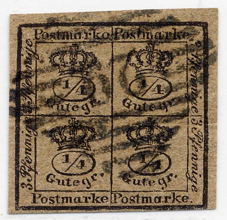 Braunschweig MiNr. 9a o 4/4 Ggr. / schwarz auf graubraun