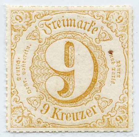 Thurn & Taxis MiNr. 54I ** 9 Kr.,ockerbraun durchstochen
