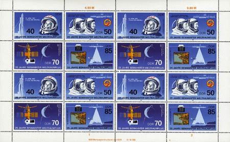 DDR Zdr.-Bg. MiNr. 3005/08 ** 25 J. Weltraumflug, inkl. Sammelblatt