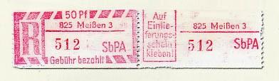 DDR Einschreibmarke MiNr. 2C II ** 825-3 Meißen