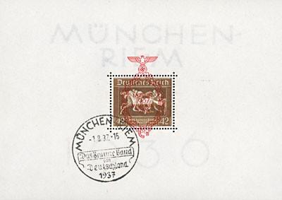 """Dt. Reich Bl. 10 MiNr. 649 o 4.Rennen um """"Das Braune Band"""" 1937"""