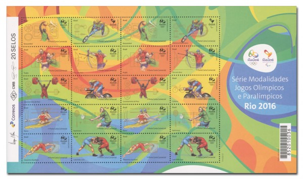 Brasilien Rio 2016, 1 Kleinbogen I ** Motive Basketball bis Ringkampf (20 Werte)