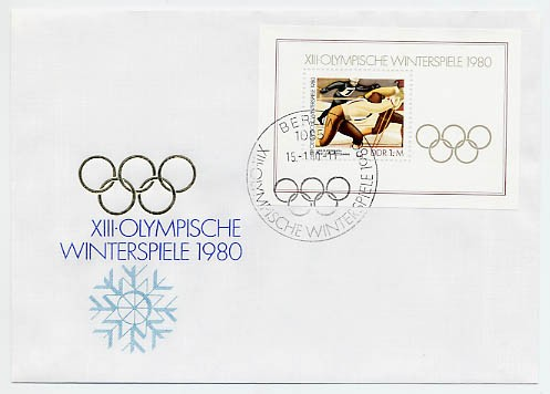 DDR FDC Bl. 57 MiNr. 2482 Olympische Winterspiele Lake Placid 1980
