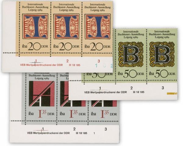 DDR MiNr. 3245/3247 DV ** Internat. Buchkunst-Ausstellung 1989